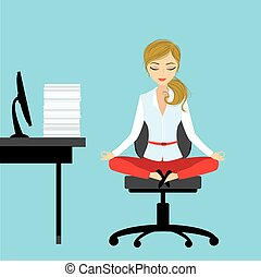 Office worker relaxes and meditates in the lotus position on...