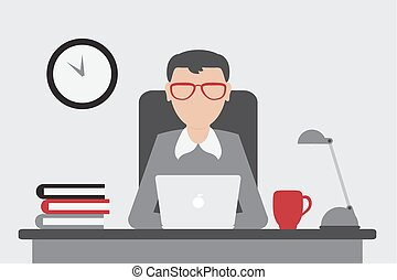Office worker sitting at the table and working