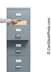 Office worker taking a file from a filing cabinet