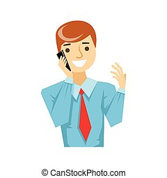 Office Worker Talking About Work On Smartphone, Part Of People Speaking On The Mobile Phone Series. Cartoon Character Talking To The Cell Phone Portrait Flat Illustration.