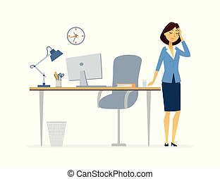 Office worker with a headache - cartoon people characters isolated illustration
