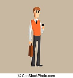 Office Worker With Cell Phone