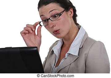 Office worker with interested look on face