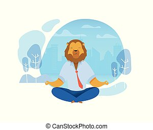 Office Worker with Lion Head Meditating Clipart
