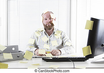 Office Worker with Notes Everywhere - Exhausted and tired ...
