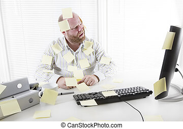 Office Worker with Notes Everywhere