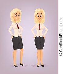 Office worker woman character set. Vector flat cartoon illustration