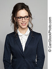 office worker woman wearing glasses smiling