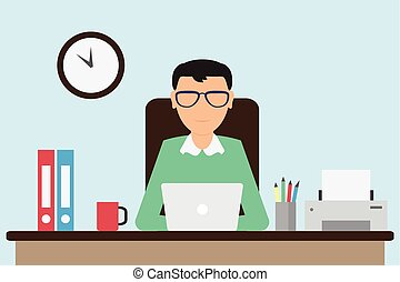 Office worker working on the computer