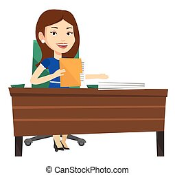 Office worker working with documents.