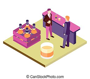 Office Workers At The Bar Primitive Bright Colors 3d Design...