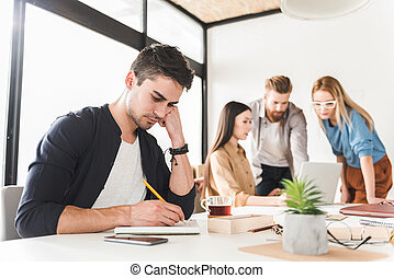 Office workers creating new project