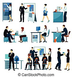 Office Workers Flat Set