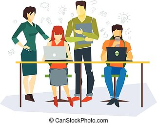 Office workers flat set with business process, success, team, meeting isolated vector illustration.