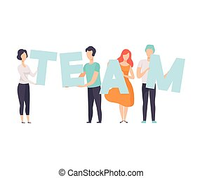 Office Workers Holding the Word Team, Teamwork, Cooperation, Partnership Vector Illustration