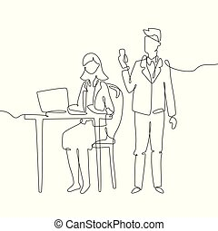 Office workers - one line design style illustration