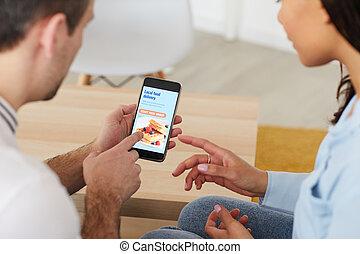 Office Workers Ordering Food via Mobile App