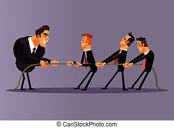 Office workers people men character compete and pulling rope together. Teamwork competition business battle opposition. Unequal struggle fight concept. Vector flat cartoon illustration