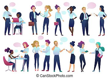 Office workers people with Chat Communication bubbles talking to each other. Male and female business people communicating and discussing with friends vector illustration.