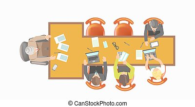 Office workers sit at T-shape table isolated illustration