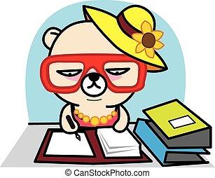 Office Working Bear cartoon set vector illustration
