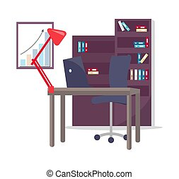 Office Working Place Set, Vector Illustration