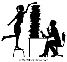 Office workload silhouette