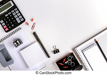 Office workplace and stationery on the table