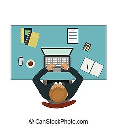 Office workplace. Businessman working with laptop and documents on table