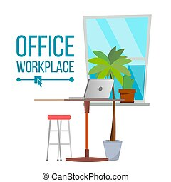 Office Workplace Concept . Furniture Workplace. Developer Creative Studio Interior. Laptop. Trendy Office Desk Illustration.