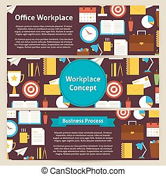 Office Workplace Concept Vector Template Banners Set in Modern Flat Style