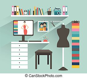 Office workplace. Fashion designer office. Flat design ...