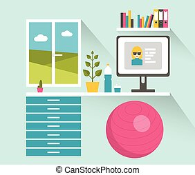 Office workplace. Healthy work space. Flat design vector illustration.