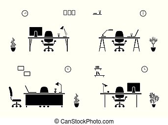 Office workplace interior icon set