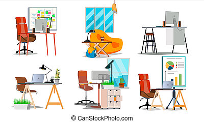 Office Workplace Interior Set . Interior Of The Office Room, Creative Developer Studio. PC, Computer, Laptop, Table, Chair. Isolated Flat Illustration