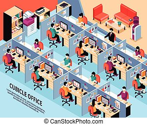 Office Workplace Isometric Vector Illustration