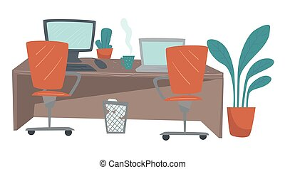 Office workplace, long table with laptops vector