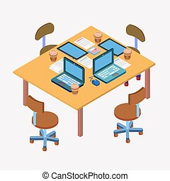 Office Workplace. Modern Workspace. Business Meeting. Team Working. Work Process. Isometric Concept. Laptop, Computer, Tablet