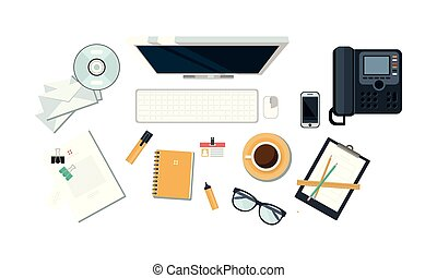 Office workplace, organization of working space, view from above vector Illustration on a white background