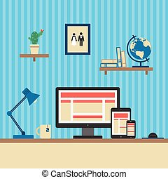 Office Workplace. Responsive Web Design Concept. Flat Style. Vector