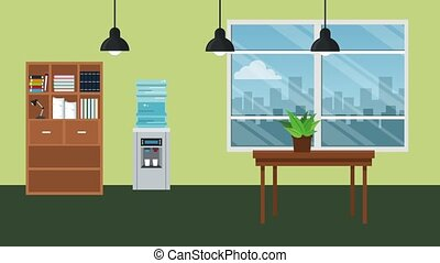 Office workplace scenery HD animation - Office interior...