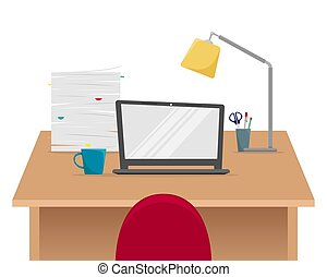 Office workplace. Table with laptop, stack of papers, Desk lamp. Flat vector illustration.