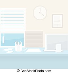 Office Workplace with Computer. Clipping paths included in...