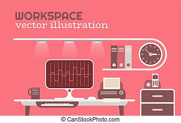 Office Workspace vector illustration - Flat style Workspace...