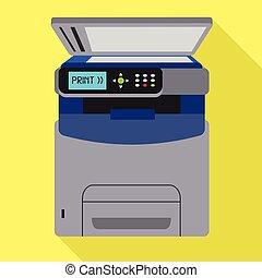 Office xerox printer icon, flat style