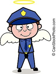 Officer in a Angel Costume - Retro Cop Policeman Vector Illustration