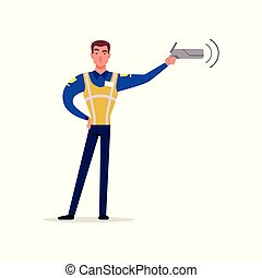 Officer of traffic police in uniform with high visibility vest pointing his radar gun at speeding traffic, policeman character at work vector Illustration