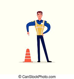 Officer of traffic police in uniform with high visibility vest standing and showing hand gesture with index finger down, policeman character at work vector Illustration