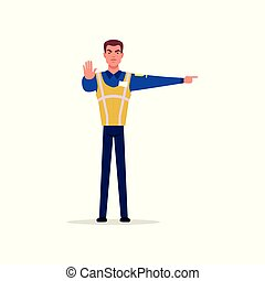 Officer of traffic police in uniform with high visibility vest standing and showing signs with his hands, policeman character at work vector Illustration