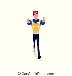 Officer of traffic police in uniform with high visibility vest standing and showing stop hand gesture, policeman character at work vector Illustration